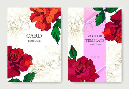 Vector Rose floral botanical flowers. Red and green engraved ink art. Wedding background card floral decorative border. Thank you, rsvp, invitation elegant card illustration graphic set banner.