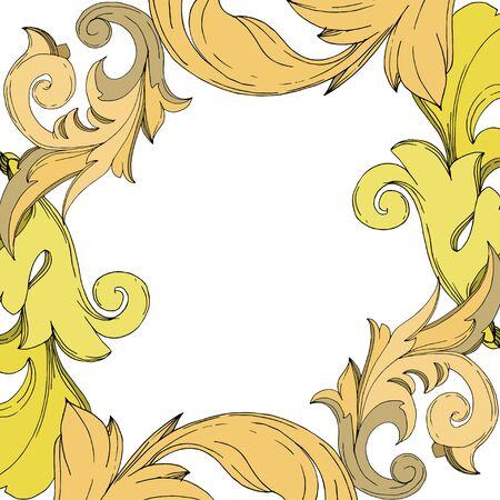 Vector Golden monogram floral ornament. Baroque design elements. Black and white engraved ink art. Frame border ornament square on white background. Illustration