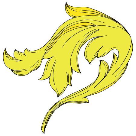 Vector Golden monogram floral ornament. Baroque design elements. Black and white engraved ink art. Isolated ornaments illustration element on white background. Иллюстрация