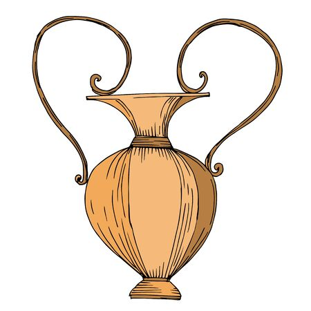 Amphores grecques antiques de vecteur. Art d'encre gravé en noir et blanc. Élément d'illustration ancienne isolé sur fond blanc. Vecteurs