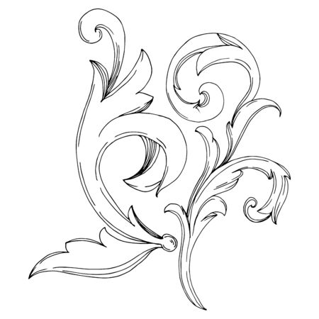 Vector Golden Monogram floral ornament. Baroque design elements. Black and white engraved ink art. Isolated ornaments illustration element on white background. Фото со стока - 130116040