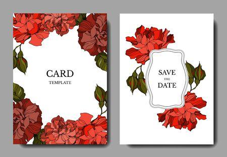 Vector Rose floral botanical flowers. Black and white engraved ink art. Wedding background card decorative border. Thank you, rsvp, invitation elegant card illustration graphic set banner. Illustration