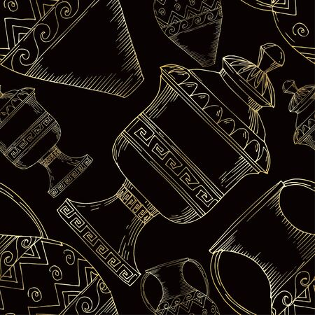 Vector Antique greek amphoras. Black and white engraved ink art. Seamless background pattern. Fabric wallpaper print texture on white background. Stok Fotoğraf - 130142326