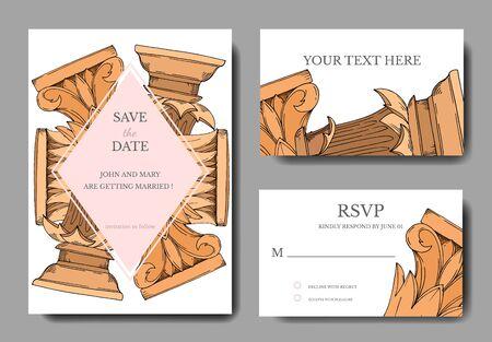 Vektor Antike griechische Spalten. Schwarz-weiß gravierte Tinte Art.-Nr. Dekorative Grenze der Hochzeitshintergrundkarte. Danke, Rsvp, Einladung elegante Kartenillustrations-Grafiksatzfahne.