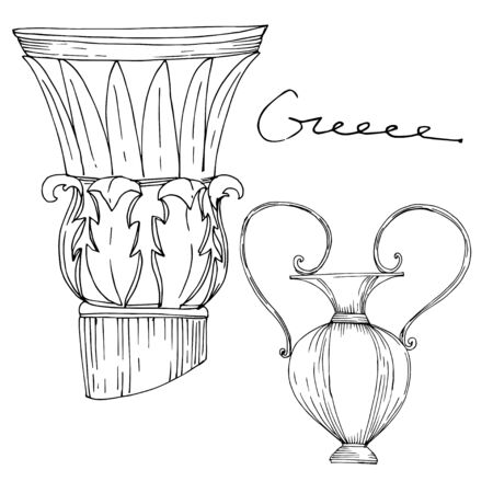 Vector Antique greek amphoras and columns. Black and white engraved ink art. Isolated ancient illustration element on white background. Illustration