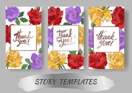 Vector rose floral botanical flowers. Black and white engraved ink art. Wedding background card decorative border. Thank you, rsvp, invitation elegant card illustration graphic set banner.