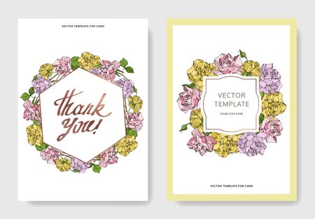 Vector Rose floral botanical flowers. Engraved ink art. Wedding background card floral decorative border. Thank you, rsvp, invitation elegant card illustration graphic set banner.  イラスト・ベクター素材