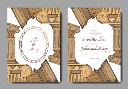 Vector Antique greek columns. Black and white engraved ink art. Wedding background card decorative border. Thank you, rsvp, invitation elegant card illustration graphic set banner.