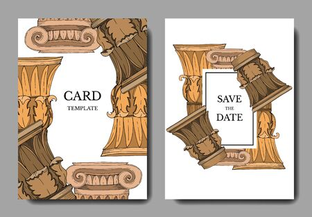 Vector Antique greek columns. Black and white engraved ink art. Wedding background card decorative border. Thank you, rsvp, invitation elegant card illustration graphic set banner.