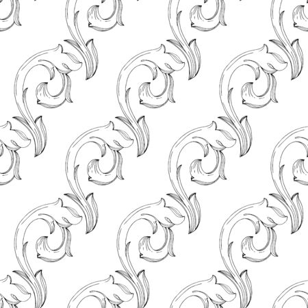 Vector Baroque monogram floral ornament. Baroque design isolated elements. Black and white engraved ink art. Seamless background pattern. Fabric wallpaper print texture. Illustration