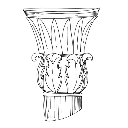 Vector Antique greek columns. Black and white engraved ink art. Isolated ancient illustration element on white background. Archivio Fotografico - 130142524