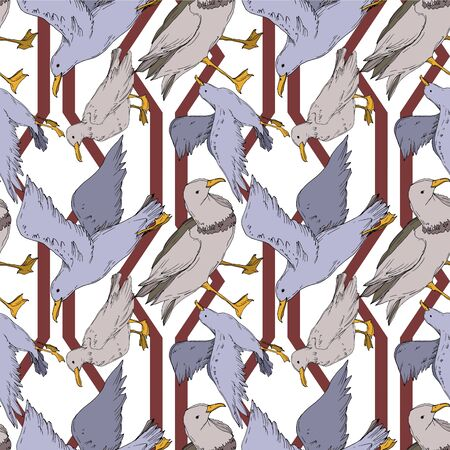 Vector Sky bird seagull isolated. Wild freedom, bird with a flying wings. Black and white engraved ink art. Seamless background pattern. Fabric wallpaper print texture. Banco de Imagens - 130142556