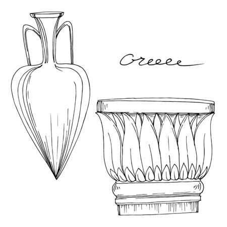 Vector Antique greek amphoras and columns. Black and white engraved ink art. Isolated ancient illustration element on white background. Ilustrace