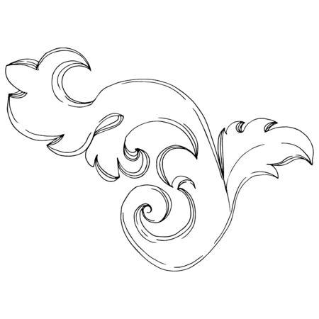 Ornement floral de vecteur monogramme doré. Éléments de design baroque. Art d'encre gravé en noir et blanc. Élément d'illustration d'ornements isolés sur fond blanc.