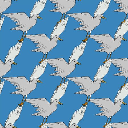 Vector Sky bird seagull in a wildlife isolated. Wild freedom, bird with a flying wings. Black and white engraved ink art. Seamless background pattern. Fabric wallpaper print texture. Standard-Bild - 130142605