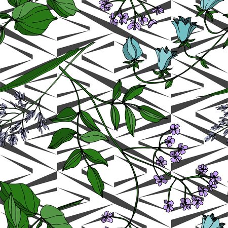 Vector Wildflowers floral botanical flowers. Wild spring leaf wildflower isolated. Black and white engraved ink art. Seamless background pattern. Fabric wallpaper print texture. Stok Fotoğraf - 130118098