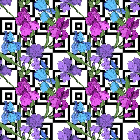 Vector Iris floral botanical flowers. Wild spring leaf wildflower isolated. Black and white engraved ink art. Seamless background pattern. Fabric wallpaper print texture. Stok Fotoğraf - 130118127