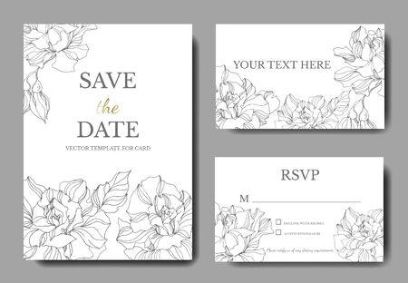 Vektor Rose botanische Blumen. Schwarz-weiß gravierte Tinte Art.-Nr. Dekorative Grenze der Hochzeitshintergrundkarte. Danke, Rsvp, Einladung elegante Kartenillustrations-Grafiksatzfahne.