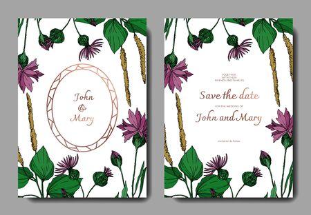 Vektorwildblumen botanische Blumenblumen. Schwarz-weiß gravierte Tinte Art.-Nr. Dekorative Grenze der Hochzeitshintergrundkarte. Danke, Rsvp, Einladung elegante Kartenillustrations-Grafiksatzfahne.