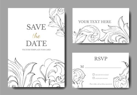 Vector Baroque monogram floral ornament. Black and white engraved ink art. Wedding background card floral decorative border. Thank you, rsvp, invitation elegant card illustration graphic set banner.