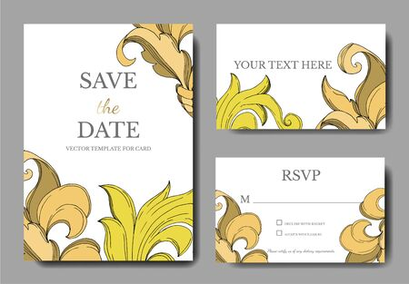Vector Golden monogram floral ornament. Black and white engraved ink art. Wedding background card floral decorative border. Thank you, rsvp, invitation elegant card illustration graphic set banner.