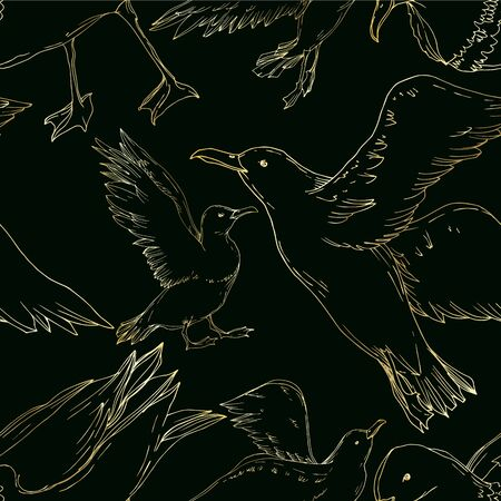 Vector Sky bird seagull isolated. Wild freedom, bird with a flying wings. Black and white engraved ink art. Seamless background pattern. Fabric wallpaper print texture. Standard-Bild - 130142854