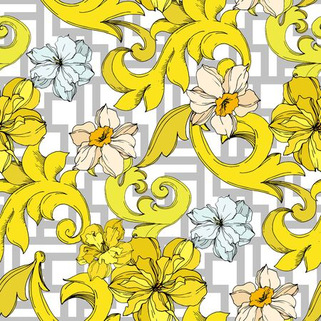 Vector Golden monogram floral ornament. Baroque design elements. Black and white engraved ink art. Seamless background pattern. Fabric wallpaper print texture. Фото со стока - 130116853