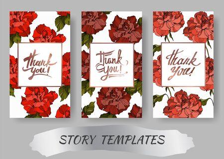 Vector Rose floral botanical flowers. Black and white engraved ink art. Wedding background card decorative border. Thank you, rsvp, invitation elegant card illustration graphic set banner. 向量圖像