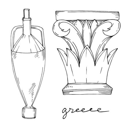 Vector Antique greek amphoras and columns. Black and white engraved ink art. Isolated ancient illustration element on white background.