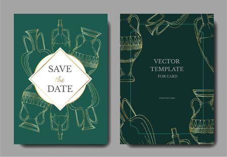 Vector Antique greek amphoras. Black and white engraved ink art. Wedding background card decorative border. Thank you, rsvp, invitation elegant card illustration graphic set banner. Illustration