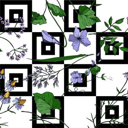 Vektor Wildflowers botanische Blumen mit Blumen. Wilde Frühlingsblatt Wildblume isoliert. Schwarz-weiß gravierte Tinte Art.-Nr. Nahtloses Hintergrundmuster. Stofftapete Drucktextur.