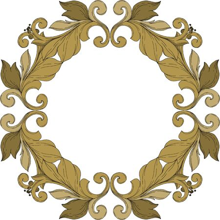 Vector Golden monogram floral ornament. Baroque design elements. Black and white engraved ink art. Frame border ornament square on white background. Иллюстрация