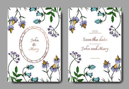 Vector Wildflowers floral botanical flowers. Black and white engraved ink art. Wedding background card decorative border. Thank you, rsvp, invitation elegant card illustration graphic set banner. Ilustração