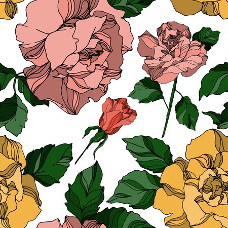 Vector Roses floral botanical flowers. Wild spring leaf wildflower isolated. Black and white engraved ink art. Seamless background pattern. Fabric wallpaper print texture.