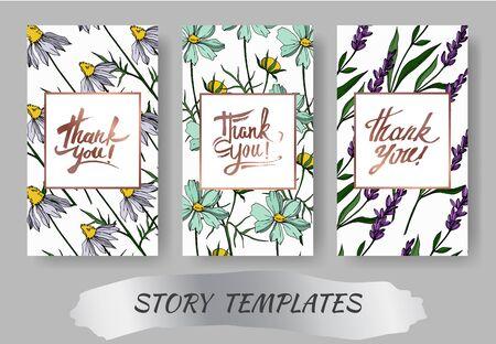 Vector wildflower floral botanical flowers. Engraved ink art. Wedding background card floral decorative border. Thank you, rsvp, invitation elegant card illustration graphic set banner. Vektorgrafik