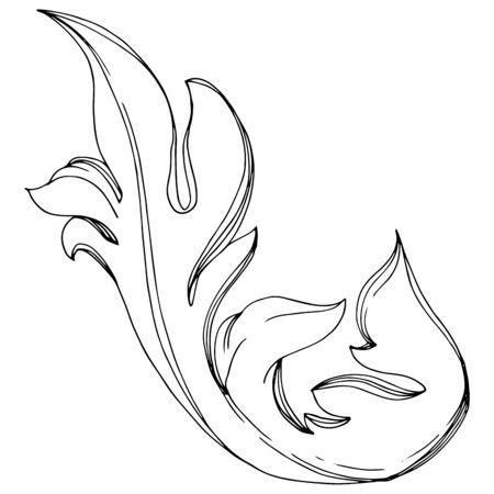 Vector Golden Monogram floral ornament. Baroque design elements. Black and white engraved ink art. Isolated ornaments illustration element on white background. Illusztráció
