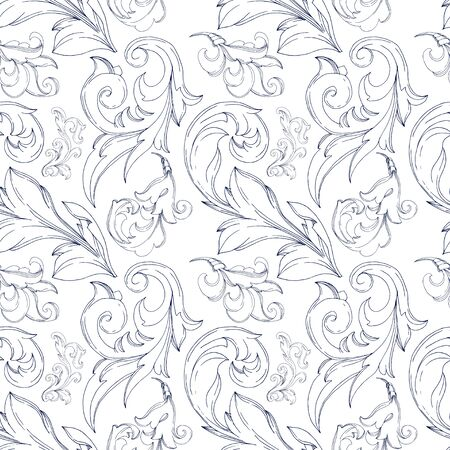 Vector Baroque monogram floral ornament. Vintage design elements. Black and white engraved ink art. Seamless background pattern. Fabric wallpaper print texture. 일러스트