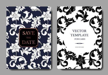 Vector Golden monogram floral baroque ornament. Black and white engraved ink art. Wedding background card decorative border. Thank you, rsvp, invitation elegant card illustration graphic set banner. Иллюстрация
