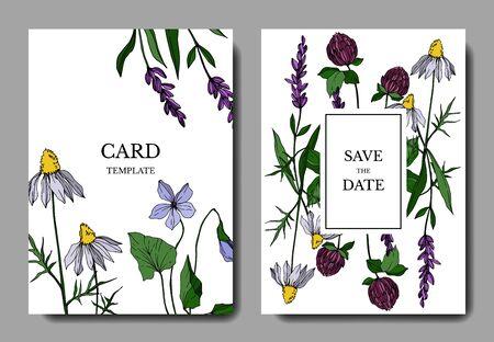 Vector wildflower floral botanical flowers. Engraved ink art. Wedding background card floral decorative border. Thank you, rsvp, invitation elegant card illustration graphic set banner.