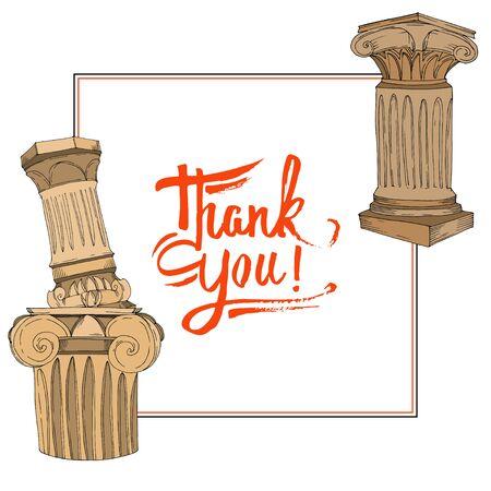 Vector Antique greek amphoras and columns. Black and white engraved ink art. Frame border ornament square on white background. Illustration