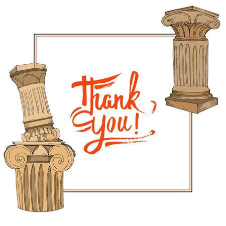 Vector Antique greek amphoras and columns. Black and white engraved ink art. Frame border ornament square on white background. Ilustrace