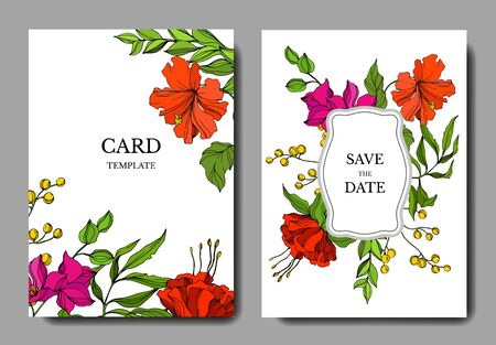 Vector Tropical floral botanical flower. Engraved ink art. Wedding background card floral decorative border. Thank you, rsvp, invitation elegant card illustration graphic set banner.