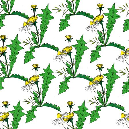 Vector Wildflowers floral botanical flowers. Wild spring leaf wildflower isolated. Black and white engraved ink art. Seamless background pattern. Fabric wallpaper print texture. Ilustração