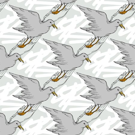 Vector Sky bird seagull in a wildlife isolated. Wild freedom, bird with a flying wings. Black and white engraved ink art. Seamless background pattern. Fabric wallpaper print texture.