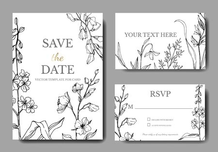 Vector Wildflower floral botanical flowers. Black and white engraved ink art. Wedding background card decorative border. Thank you, rsvp, invitation elegant card illustration graphic set banner. Ilustração