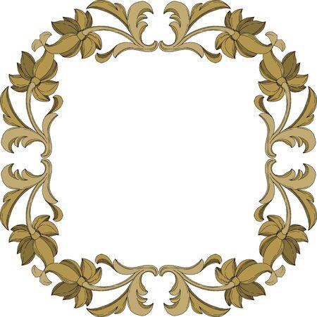 Vector Golden monogram floral ornament. Baroque design elements. Black and white engraved ink art. Frame border ornament square on white background. Иллюстрация