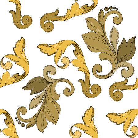 Vector Golden monogram floral ornament. Baroque design elements. Black and white engraved ink art. Seamless background pattern. Fabric wallpaper print texture. Illusztráció