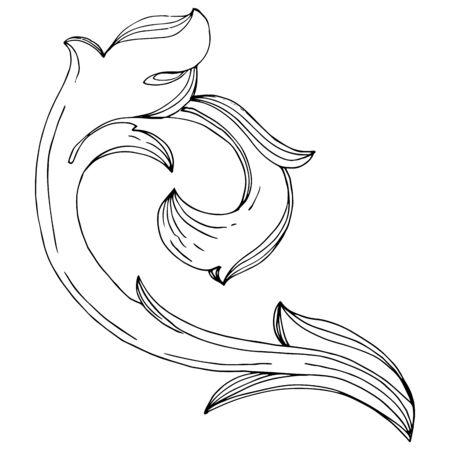 Vector Baroque monogram floral ornament. Baroque design isolated elements. Black and white engraved ink art. Isolated monogram illustration element. Standard-Bild - 130143580