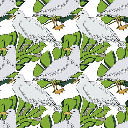 Vector Sky bird seagull in a wildlife. Black and white engraved ink art. Seamless background pattern. Fabric wallpaper print texture on white background.