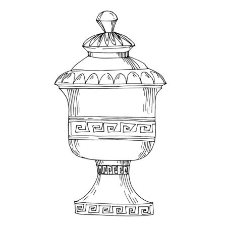 Vector Antique greek amphoras. Black and white engraved ink art. Isolated ancient illustration element on white background.